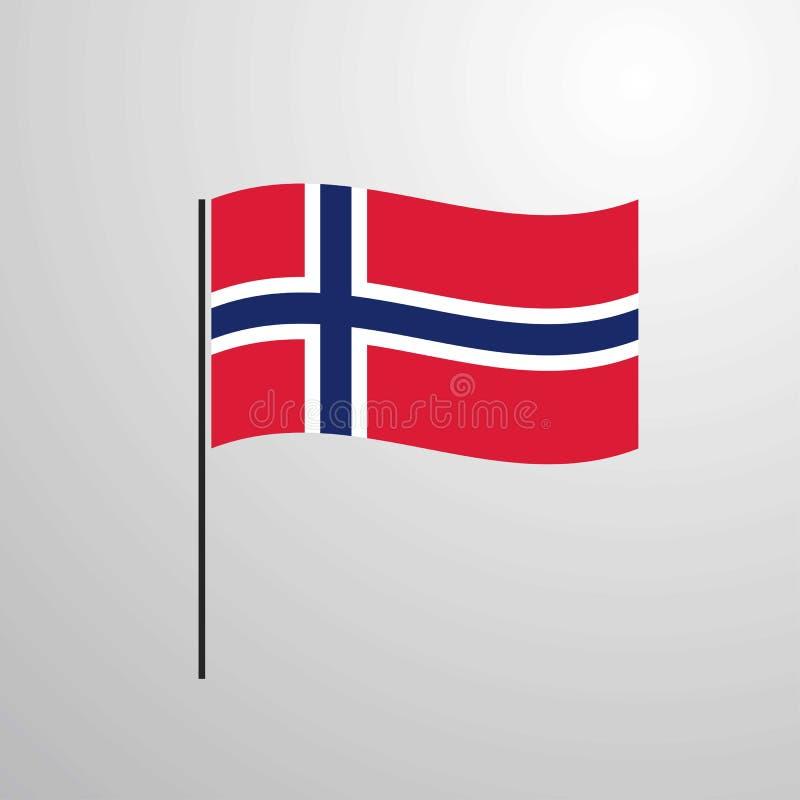 De golvende vlag van Noorwegen stock illustratie