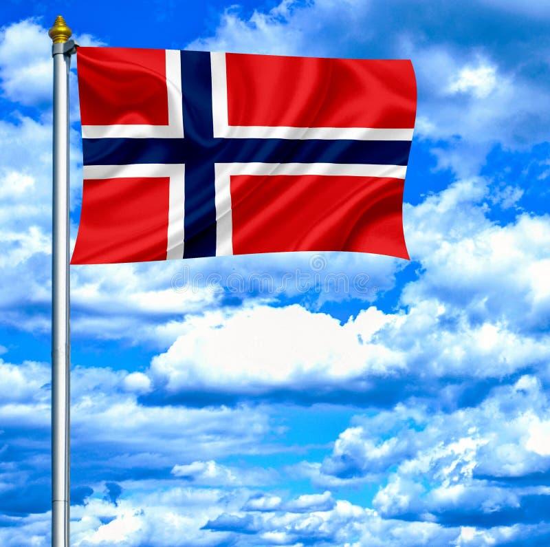 De golvende vlag van Noorwegen tegen blauwe hemel vector illustratie