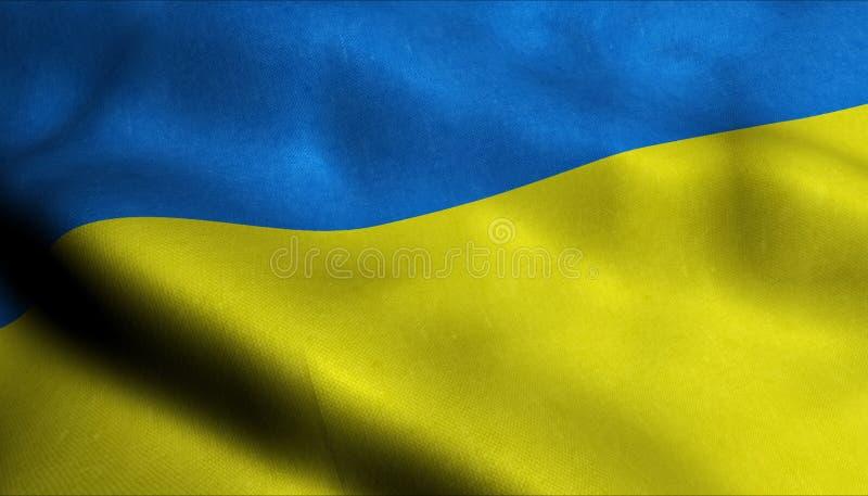 De Golvende Vlag van de Oekraïne in 3D stock illustratie