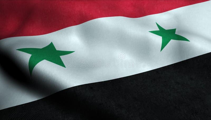 De Golvende Vlag van Syrië in 3D royalty-vrije illustratie