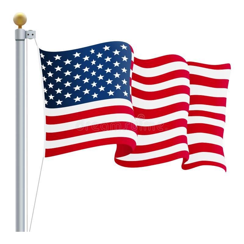 De golvende Vlag van de Verenigde Staten van Amerika Britse die Vlag op een Witte Achtergrond wordt geïsoleerd Vector illustratie stock illustratie