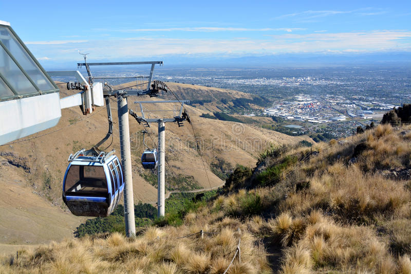 De Gondel van Christchurch vanaf Bovenkant van de Heuvels van de Haven, Nieuw Zeeland royalty-vrije stock foto