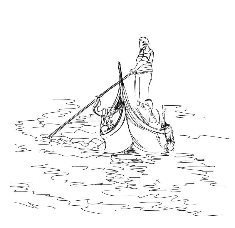 De gondelier drijft op een gondel met toeristen stock illustratie