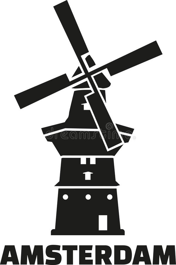 De gooyer con Amsterdam stock de ilustración