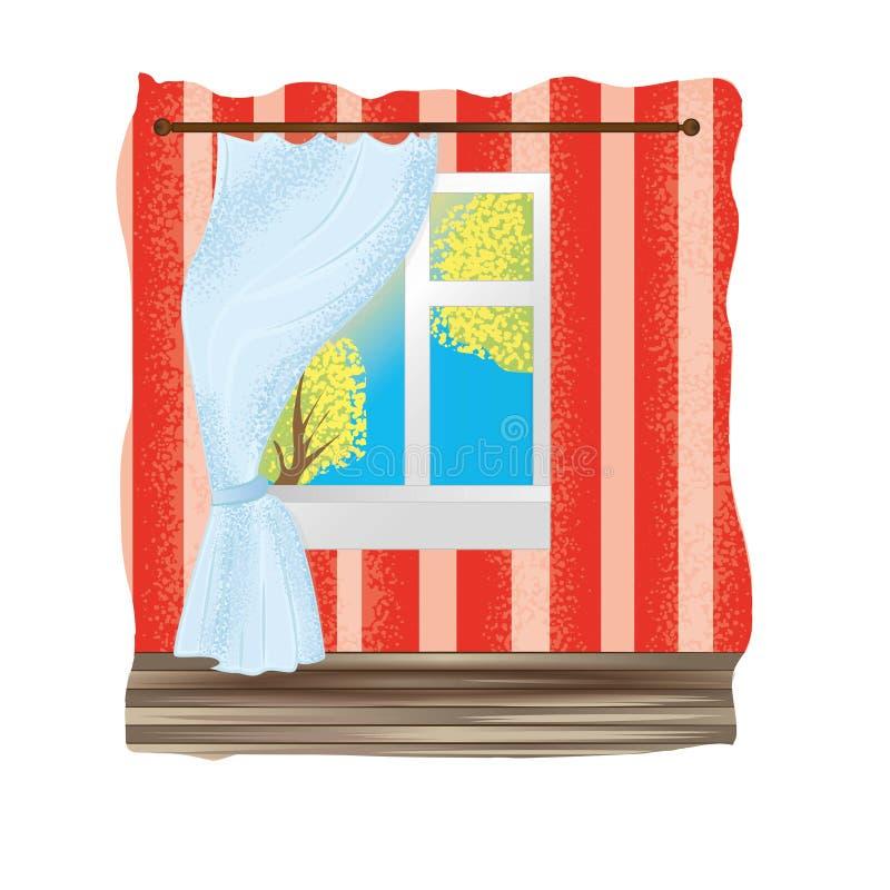 De gordijnen op het venster, de mening van het venster stock illustratie