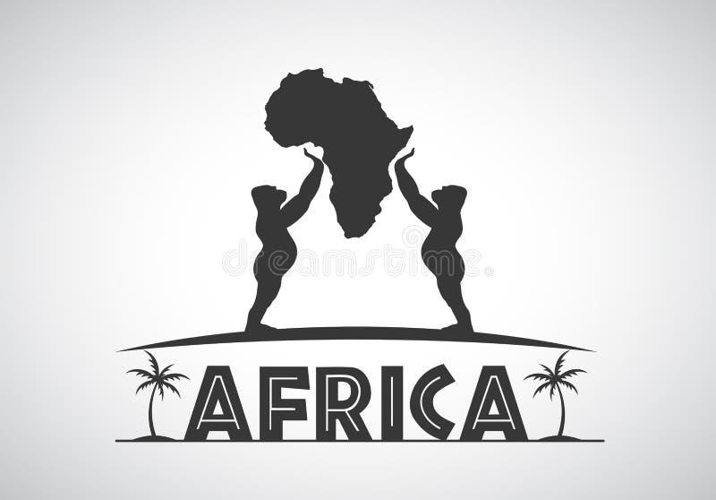 De gorilla's houden het vasteland Afrika royalty-vrije illustratie
