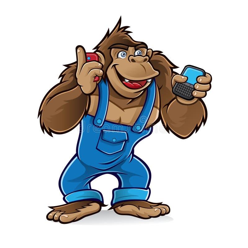 De gorilla van het beeldverhaal met mobiele telefoons royalty-vrije illustratie