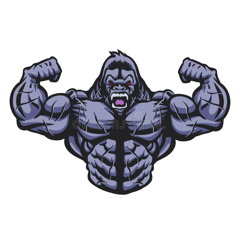 De gorillabodybuilder voert illustratie uit stock illustratie
