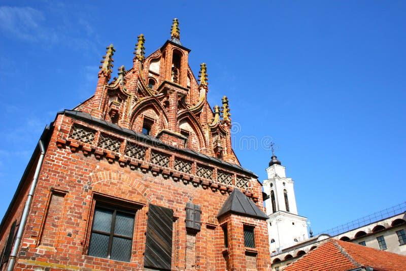 De gotische bouw in Kaunas stock afbeelding