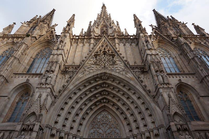 De gotische Kathedraal van Barcelona Buiten in Spanje royalty-vrije stock afbeeldingen