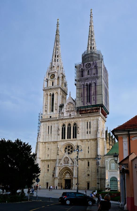 De gotische Kathedraal van Stijlzagreb, Kroatië stock foto's