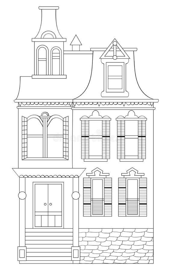 De gotische Lijn Art Illustration No van het Stijlhuis vult stock afbeelding