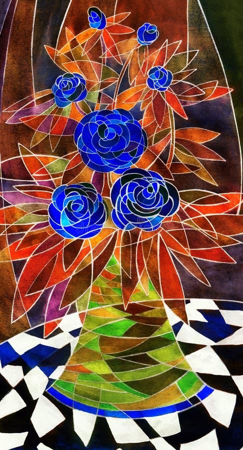 De gouache toujours la vie Corsage élégant de r bleu-foncé illustration stock