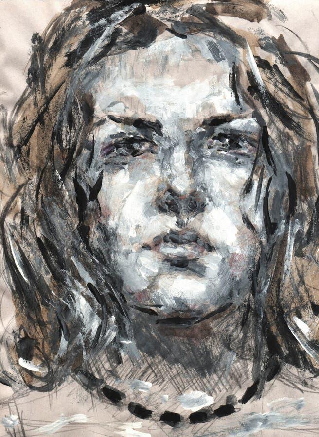 De gouache van het vrouwen` s portret schildert etude vector illustratie