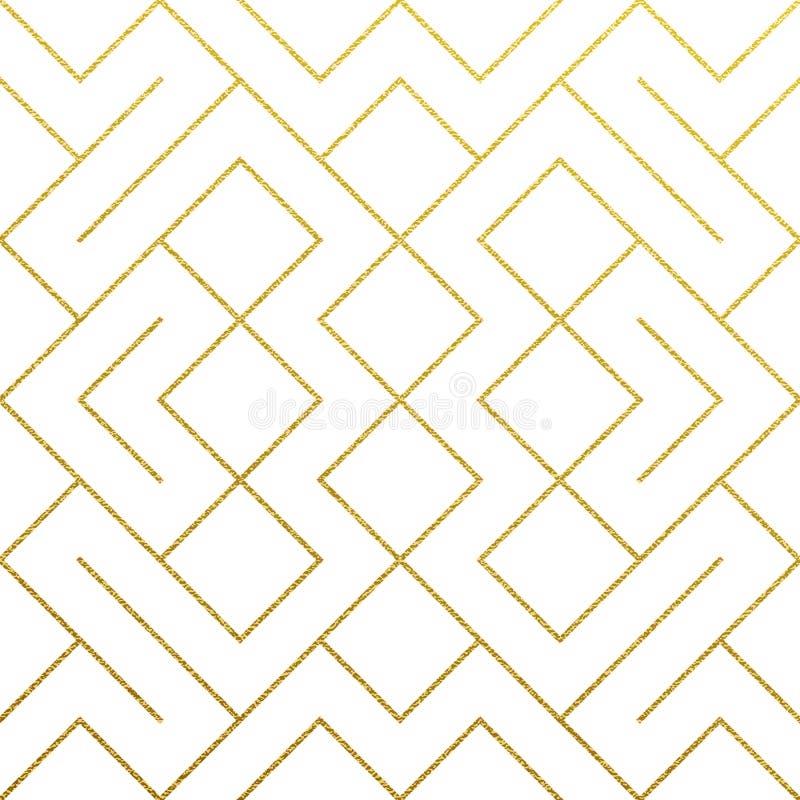 De gouden abstracte geometrische patroonachtergrond met goud schittert textuur Vector naadloze patroon of ruit en metaallijnknope royalty-vrije illustratie