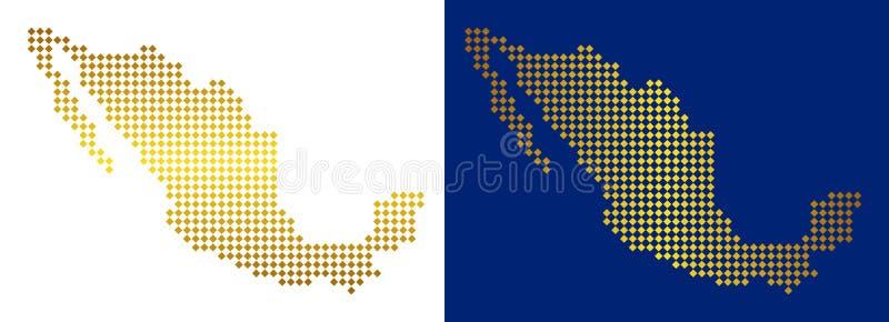 De gouden Abstracte Kaart van Mexico royalty-vrije illustratie