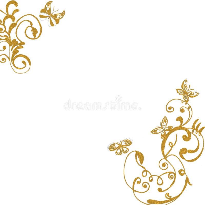 De gouden achtergrond van gebladertevlinders royalty-vrije illustratie