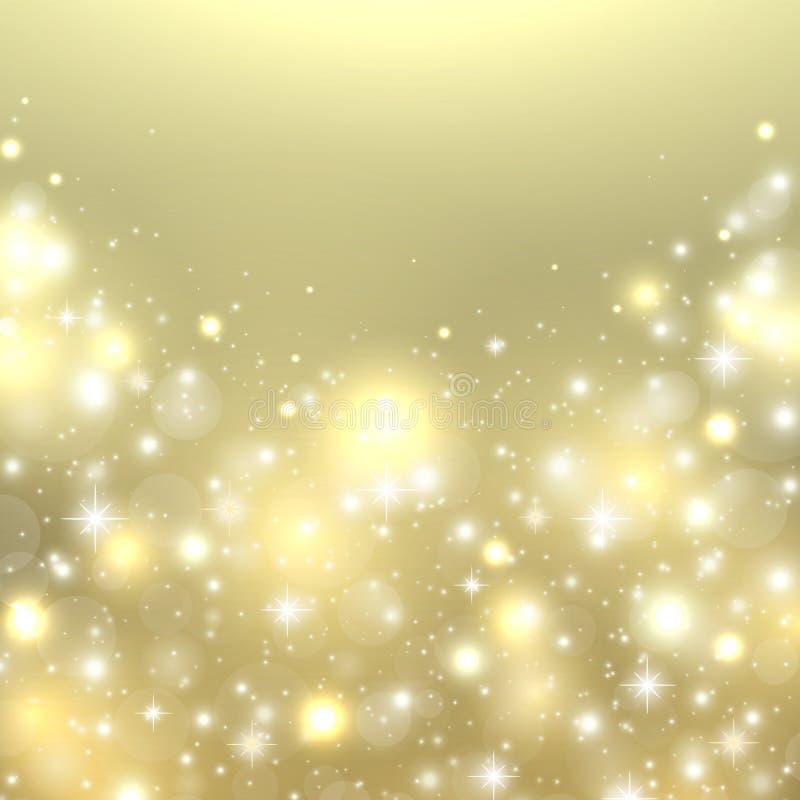 De gouden achtergrond van Kerstmis Nieuwjaar het gloeien lichte achtergrond Vakantieontwerp met fonkelingssterren, sneeuwvlokken, vector illustratie