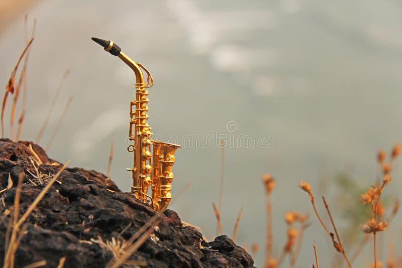 De gouden altsaxofoon bevindt zich op de achtergrond van het strand Muzikale dekking en creatief India, Goa Ontwerp met exemplaar stock afbeeldingen