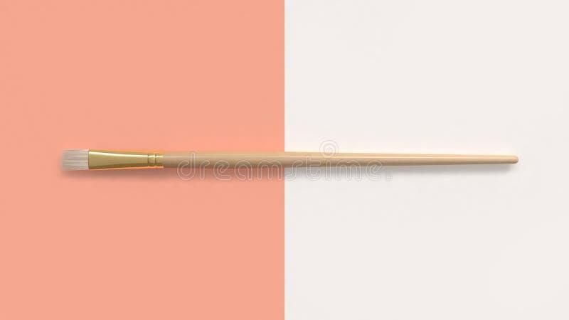 de gouden borstel op twee oranje pastelkleur-witte 3d van de toonvloer geeft terug vector illustratie