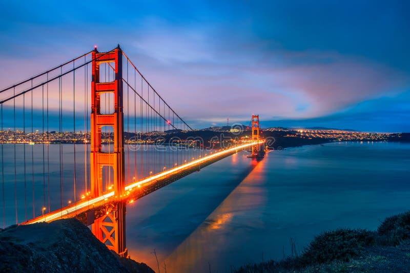 De gouden brug van de Poort bij nacht royalty-vrije stock foto