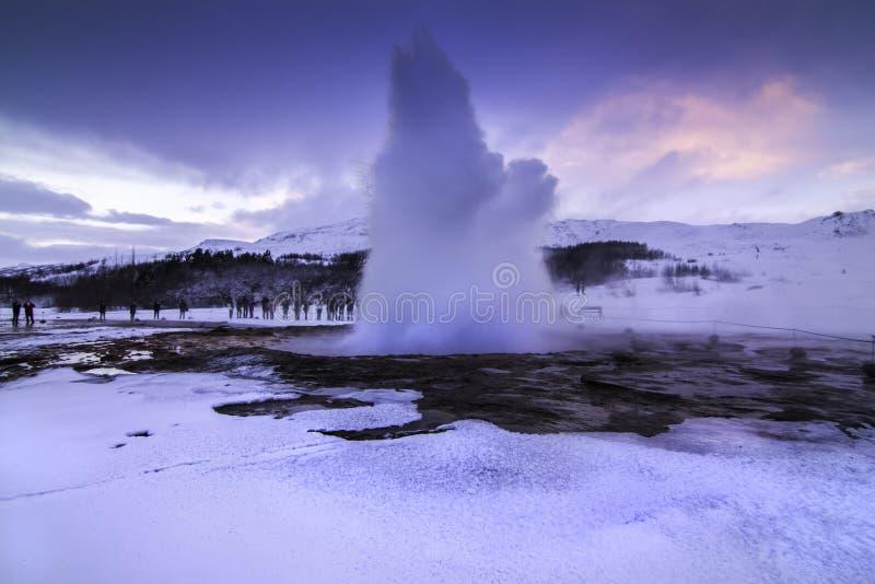 De Gouden Cirkel in IJsland tijdens de winter stock foto's