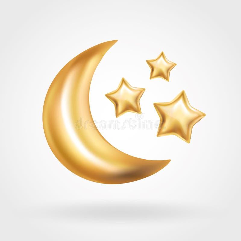 De gouden Crescent Moon-Ramadan van de sterballon stock illustratie