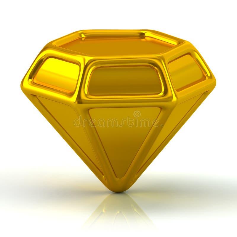 De gouden 3d illustratie van het gempictogram vector illustratie