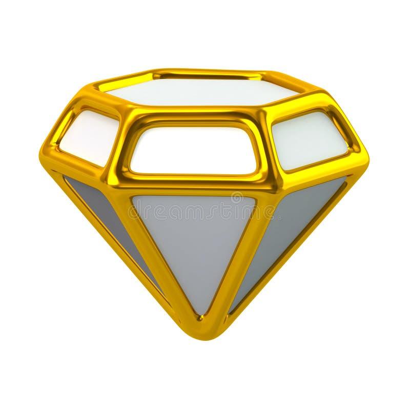 De gouden 3d illustratie van het juwelenpictogram stock illustratie