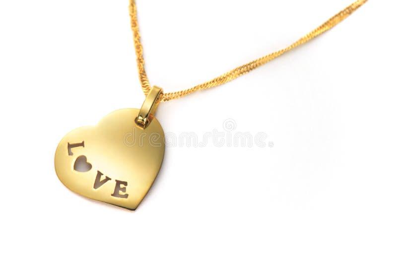De gouden Dag van de Valentijnskaarten van de harttegenhanger stock afbeeldingen