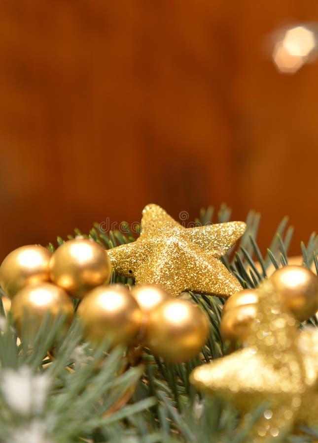 De gouden decoratie van Kerstmis stock foto