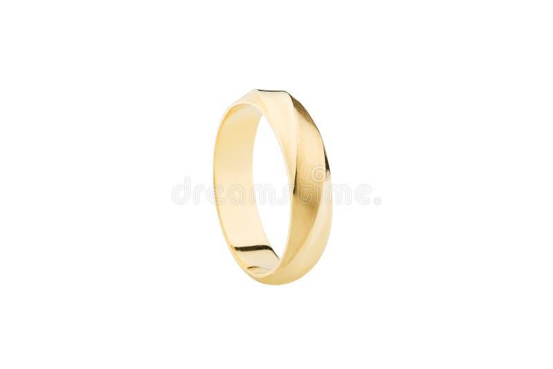 De gouden die ring met steen en polijst oppervlakte op wit wordt geïsoleerd stock foto