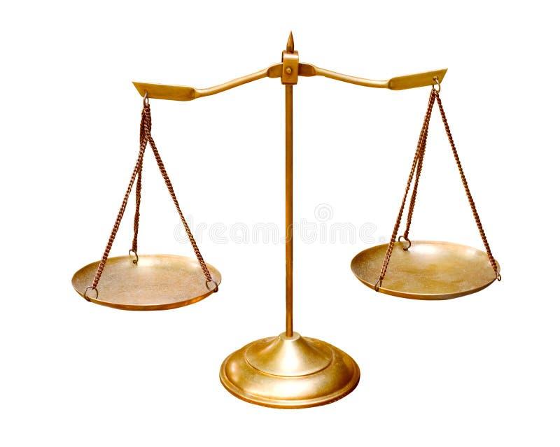 De gouden die schaal van het messingssaldo op wit gebruik als achtergrond voor mu wordt geïsoleerd stock afbeelding