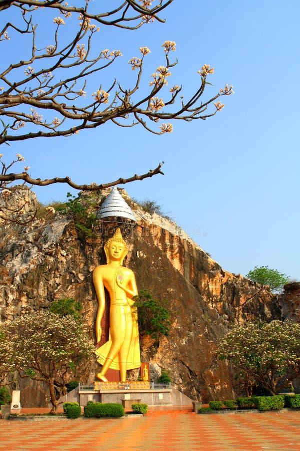 De gouden die standbeelden van Boedha in de klippen worden gesneden stock foto