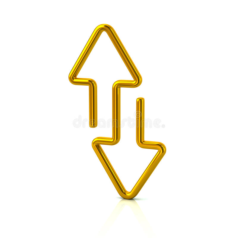 De gouden download en uploadt pijlen stock illustratie