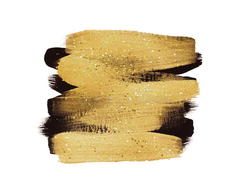 De gouden en zwarte borstelslagen met schitteren op witte achtergrond royalty-vrije illustratie