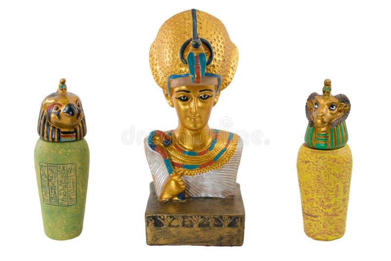 De gouden farao van Egypte en zijn lijfwachten stock foto