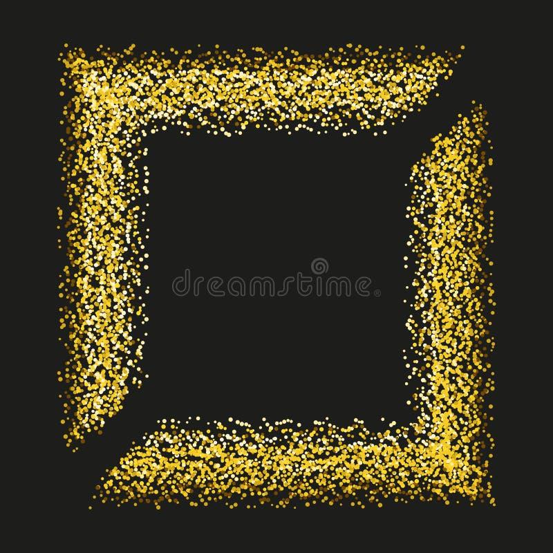 De gouden fonkelingen en schitteren het kader van de poedernevel Het fonkelen schittert deeltjesexplosie op vector zwarte transpa stock illustratie