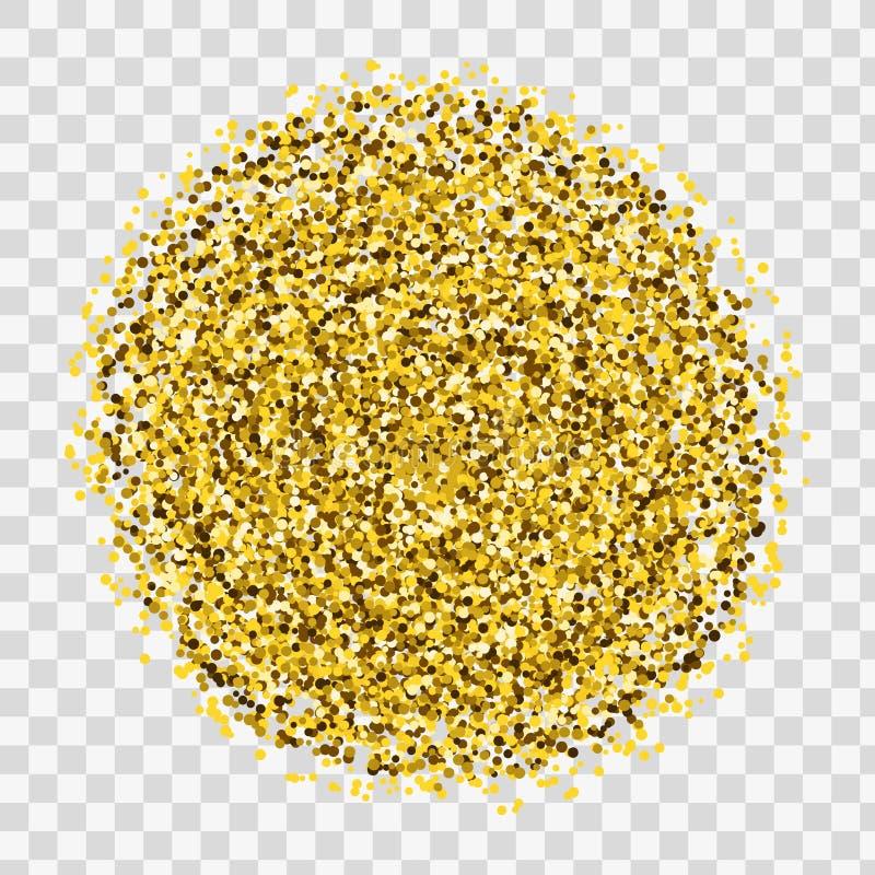De gouden fonkelingen en schitteren poedernevel Het fonkelen schittert deeltjesexplosie op vector zwarte transparante achtergrond stock illustratie