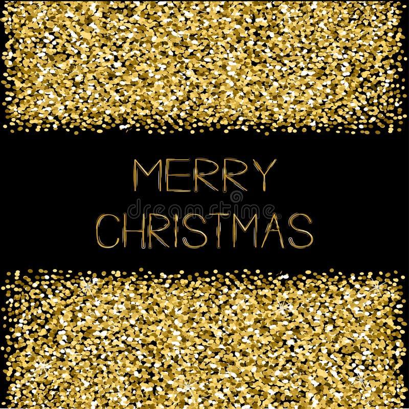 De gouden fonkelingen schitteren van de de tekstgroet van kader Vrolijke Kerstmis de kaart Zwarte achtergrond stock illustratie
