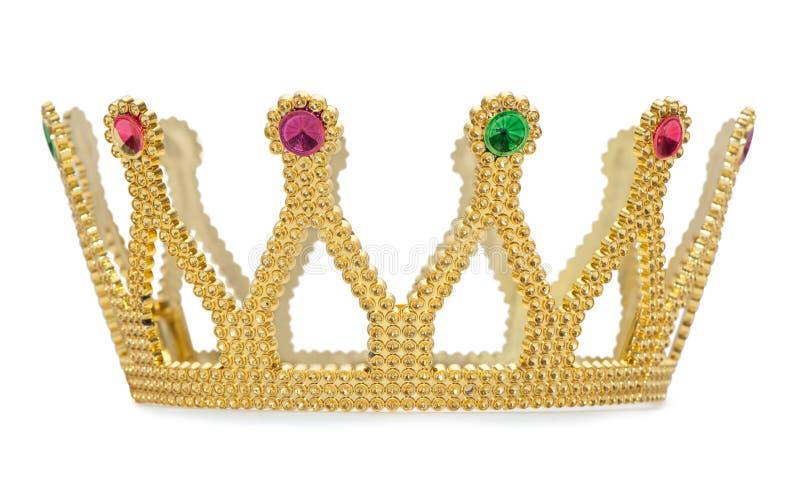 De gouden geïsoleerde kroon is op witte achtergrond met het knippen van weg royalty-vrije stock fotografie