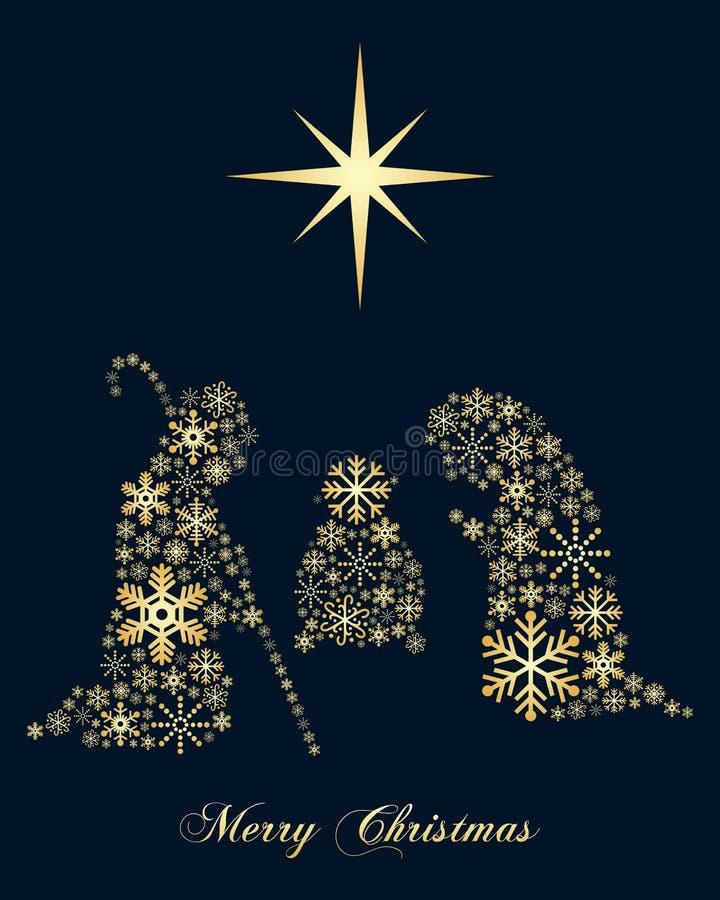 De gouden Geboorte van Christus van Sneeuwvlokkenkerstmis vector illustratie