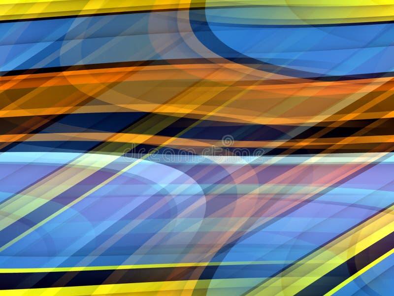 De gouden gele blauwe oranje zachte lijnenachtergrond, vat kleurrijke meetkunde samen vector illustratie
