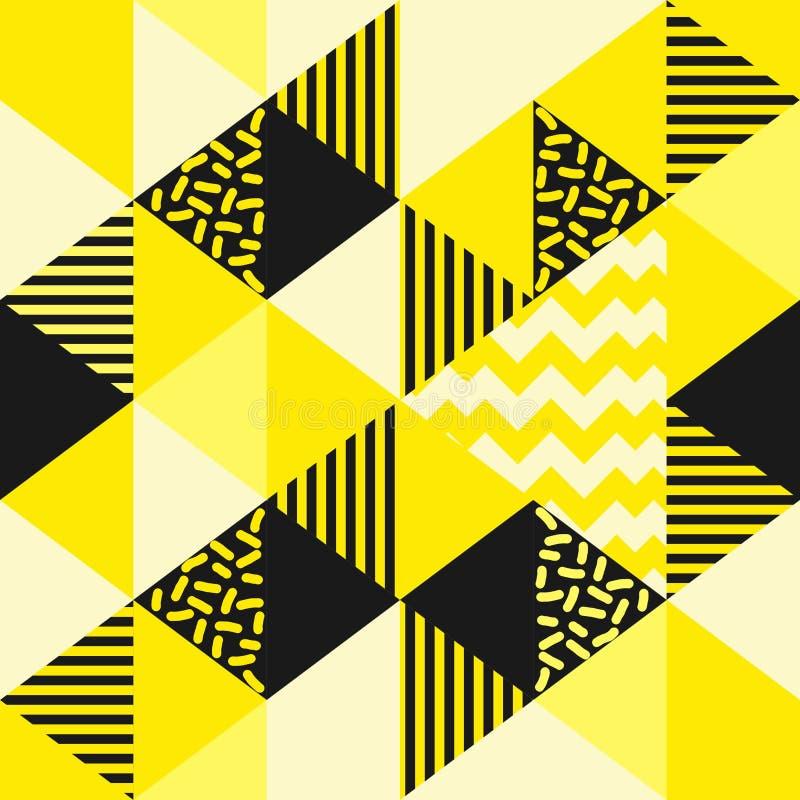 De gouden gele naadloze geometrische vector van het driehoekspatroon vector illustratie
