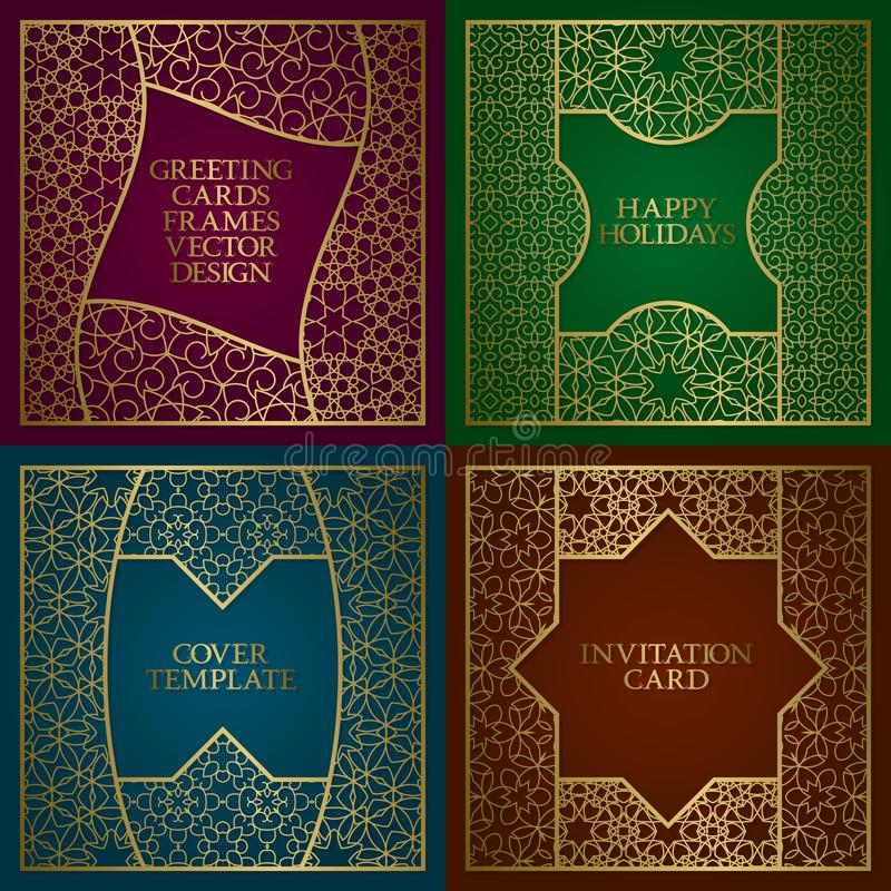 De gouden geplaatste kaders van groetkaarten Uitstekend ontwerp van malplaatje in Arabische in traditionele stijl royalty-vrije illustratie