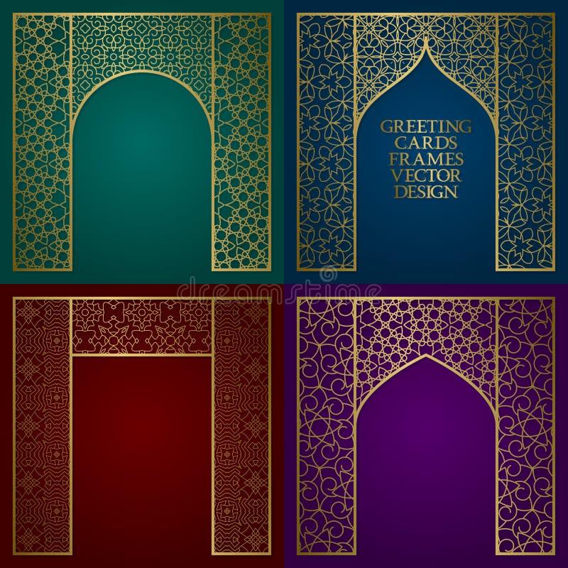De gouden geplaatste kaders van groetkaarten Uitstekend ontwerp van malplaatje in oosterse stijl vector illustratie