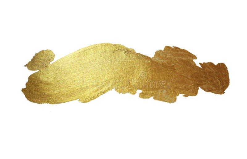 De gouden Glanzende Getrokken Illustratie van de Verfvlek Hand royalty-vrije illustratie
