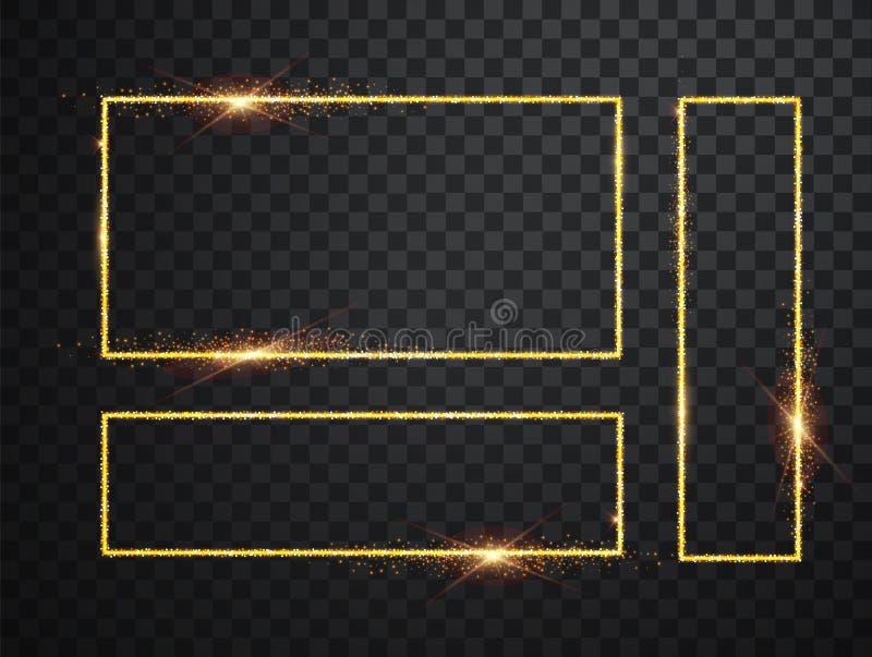 De gouden glanzende gloeiende die kaders plaatsen met schaduwen op transparante achtergrond worden ge?soleerd Pak van luxe realis vector illustratie