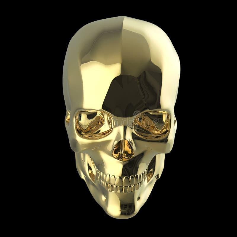 De gouden glanzende opgepoetste metaalschedel geeft op zwarte achtergrond geïsoleerd terug vector illustratie