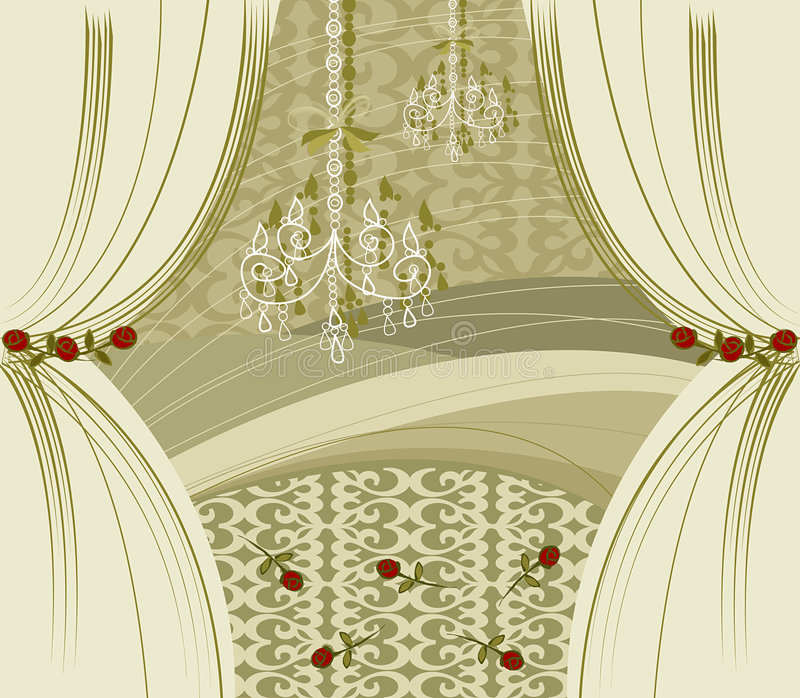 De gouden gordijnen van de encore stock illustratie